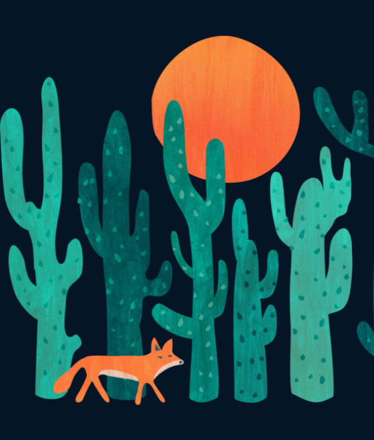fox in cactus forest