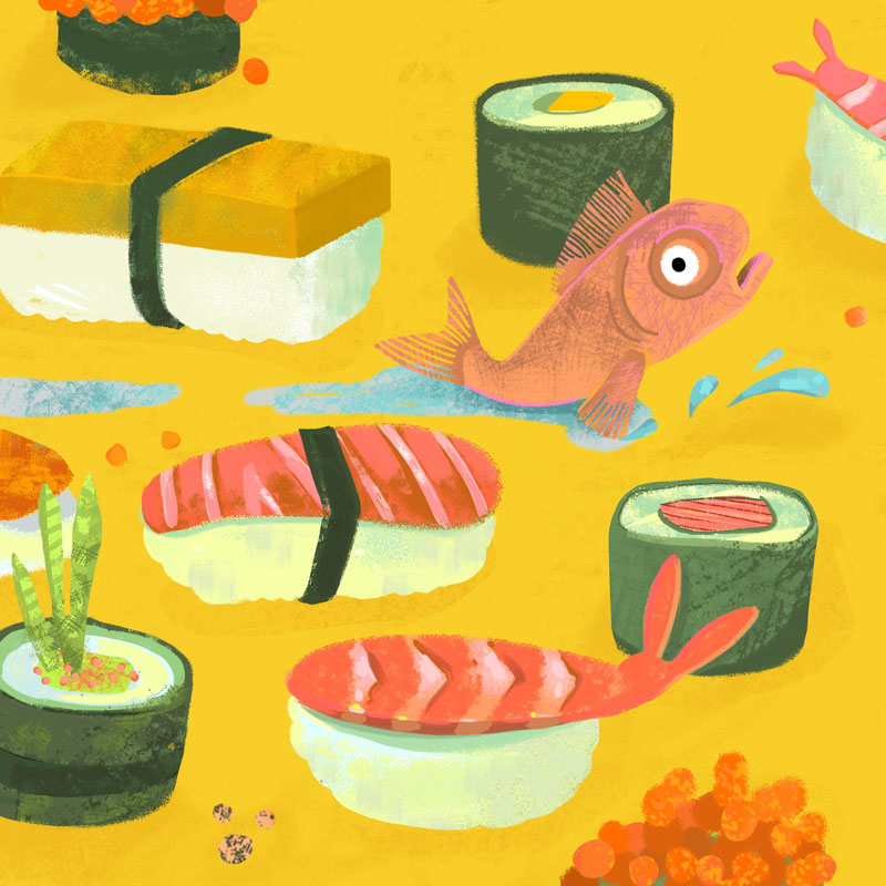 sushi illustration by marian blair