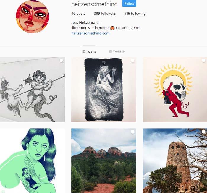 Jess Heitzenrater Instagram page