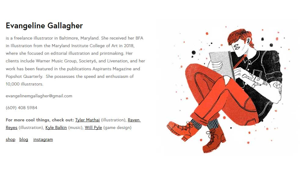 Evangeline Gallagher about page