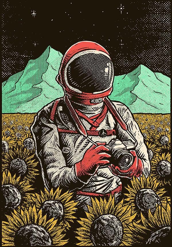 Spaceman in sunflower field by Jesus Velazquez