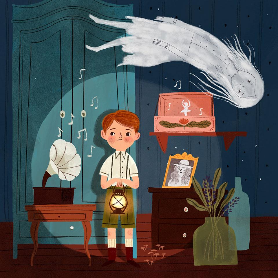 ghost & kid illustration