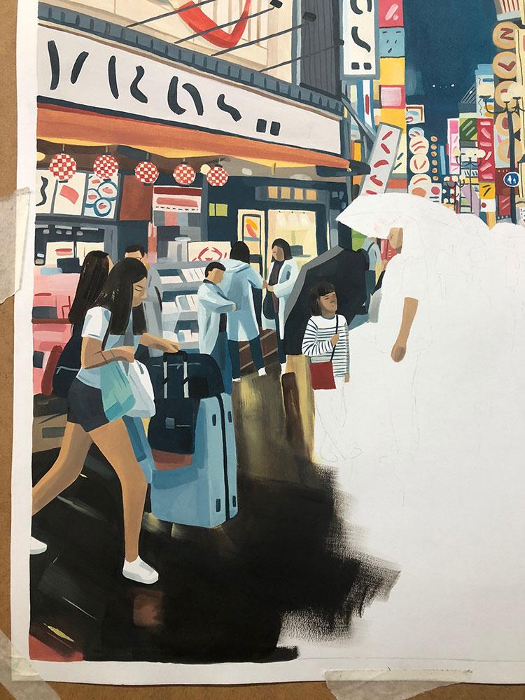 Osaka illustration in process