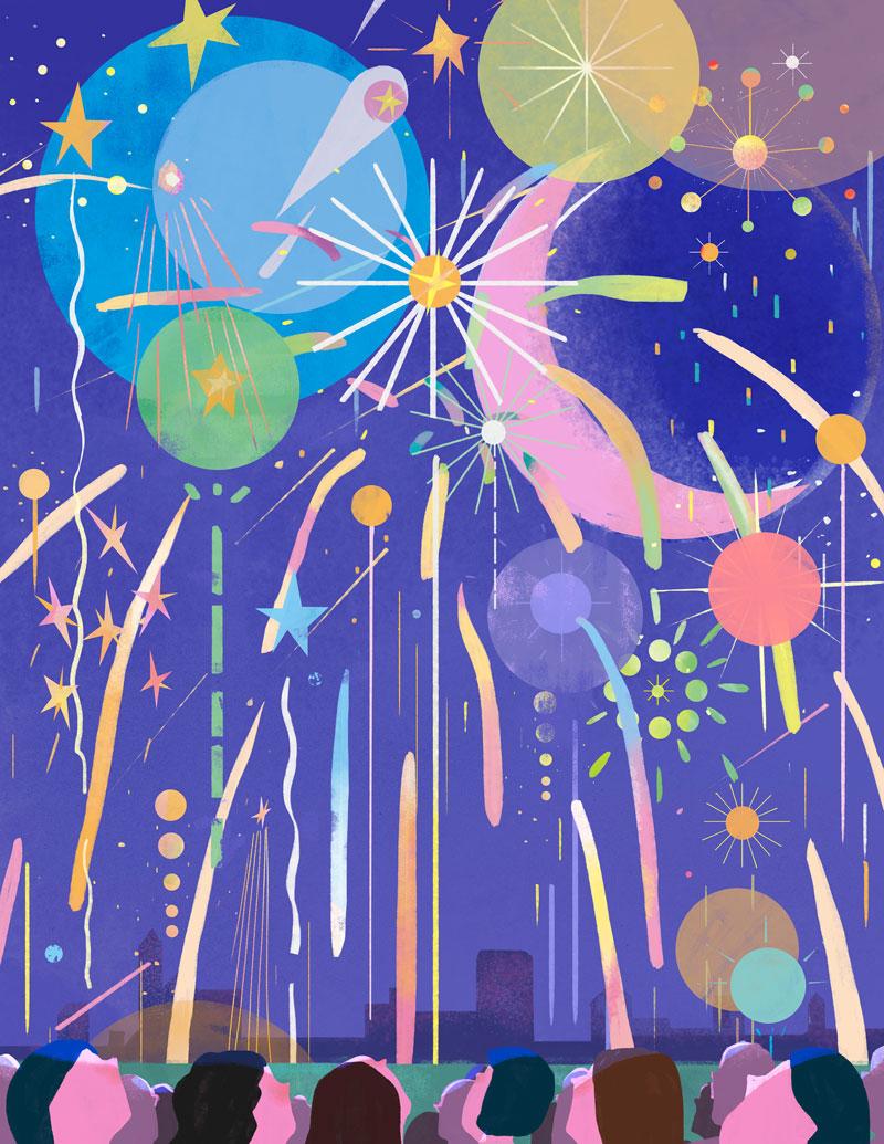 Fireworks illustration by Jianan Liu