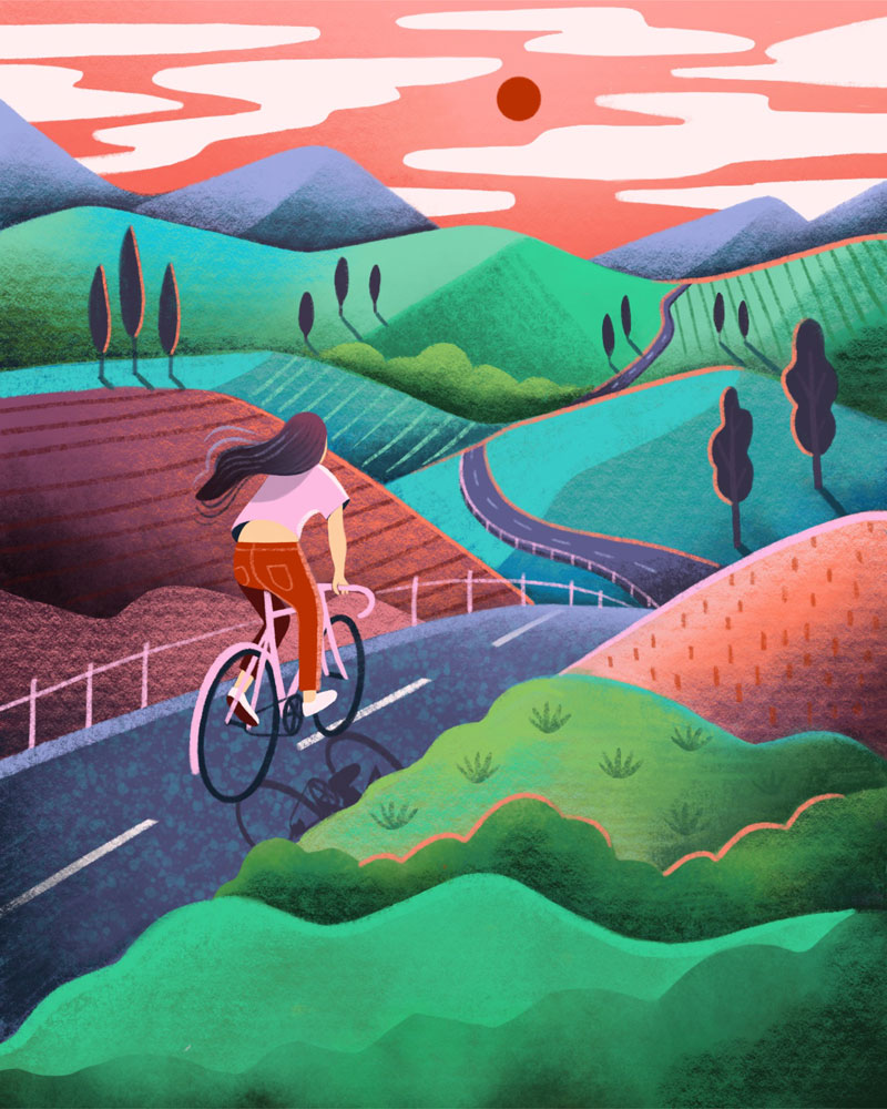 Girl biking landscape illustration by Marcy Day