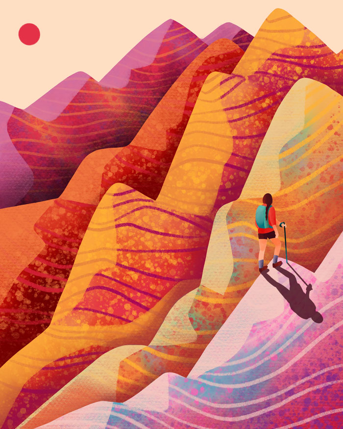 Mountain hike illustration