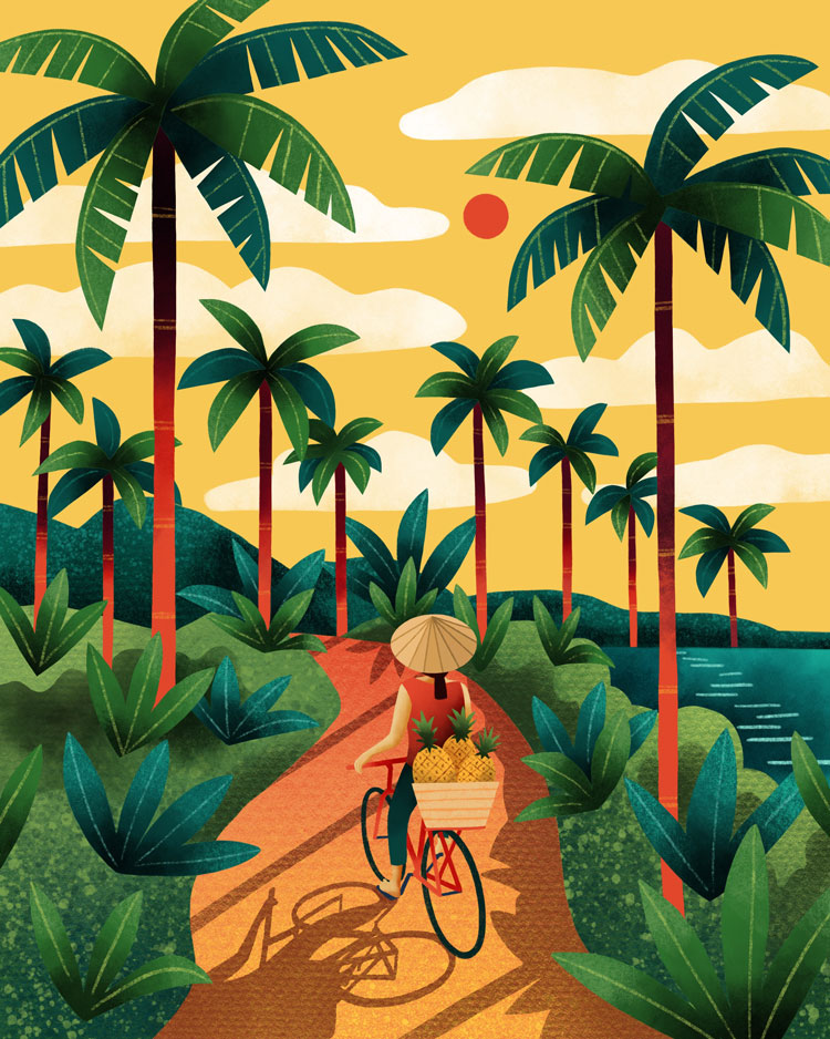 Vietnam bike illustration by Marcy Day