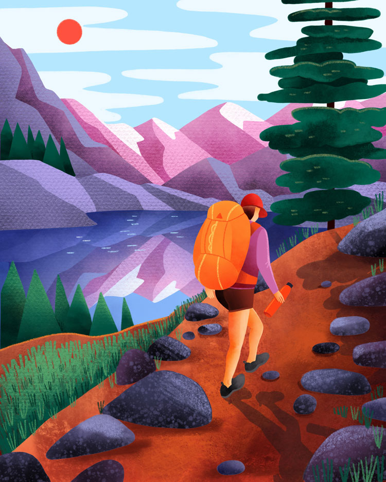 Hiking Woman illustration by Marcy Day