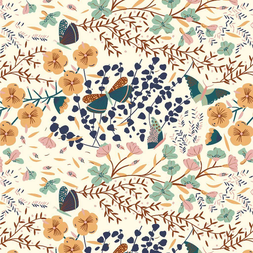 Butterfly & floral pattern design by Ángela Corti
