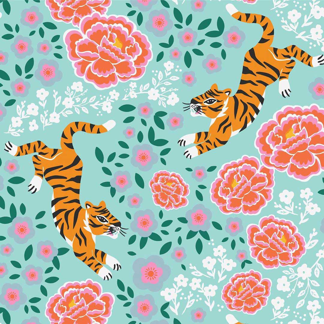 tiger and floral pattern