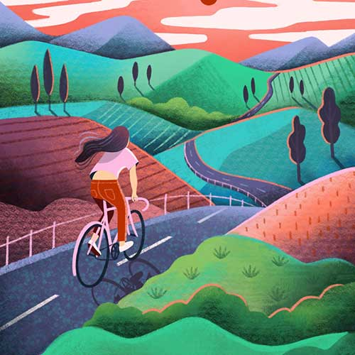 Bike Touring Lady by Marcy Day