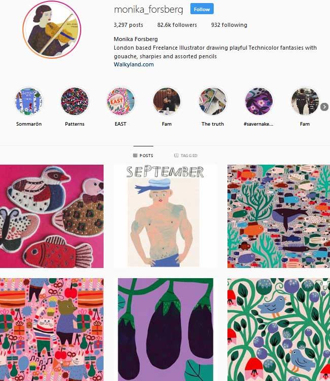 Monika Forsberg Instagram page