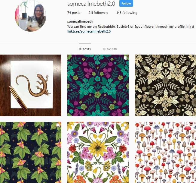 Pattern designer Beth Norton Instagram