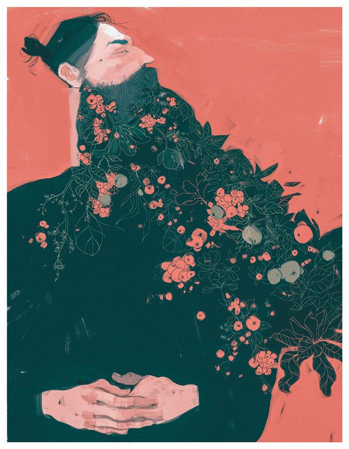 Beard man with flowers illustration by Darya Shnykina