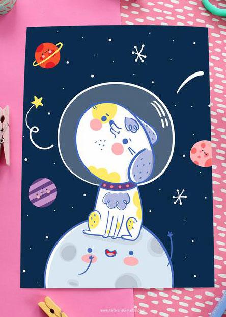 Ilaria Ranauro space dog print