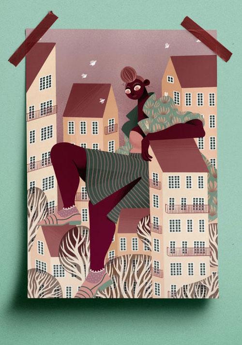 Iris van den Akker huge girl ontop of houses