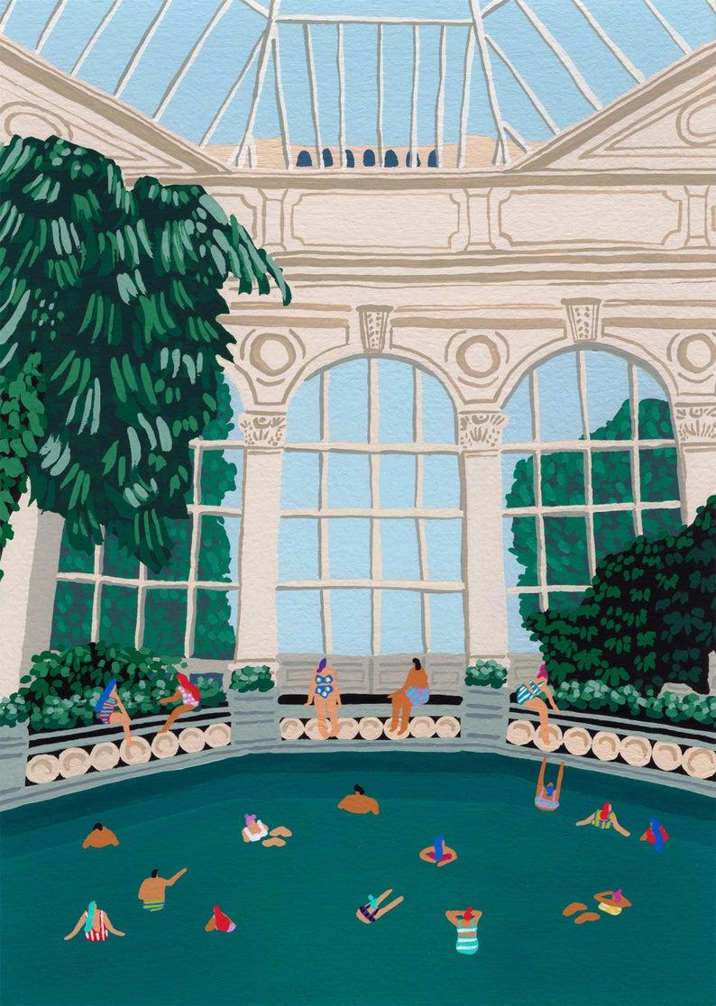 Joanne Ho bath house print