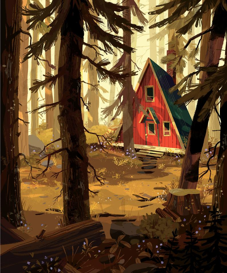 Kim Smith house in the woods print