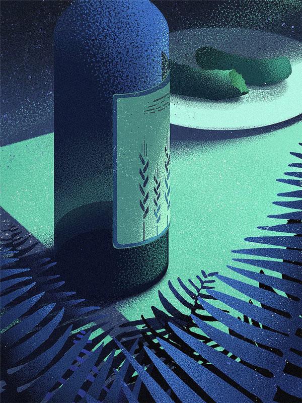 Marcin Wolski bottle illustration