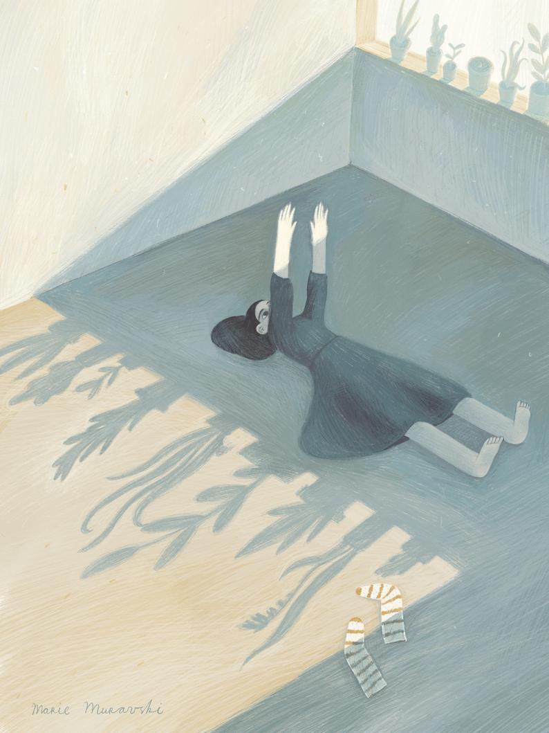 Marie Muravski girl on floor print