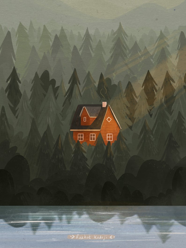 RaahatIllustration red house in the woods print