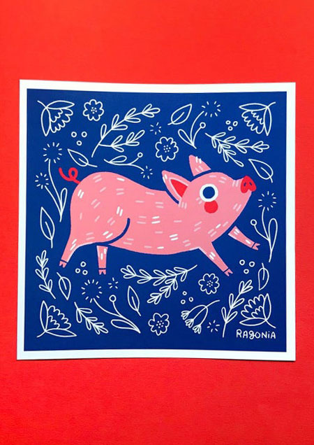 Ragon Dickard pig print
