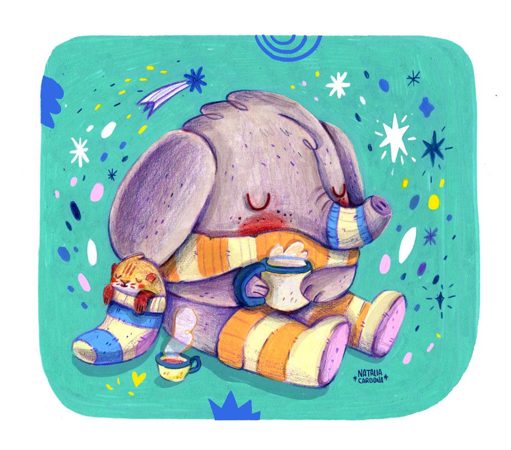 Warm socks elephant illustration
