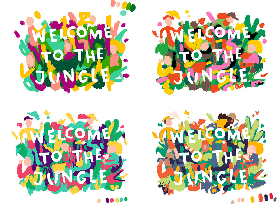 "color tests for illustration ""welcome to the jungle"""