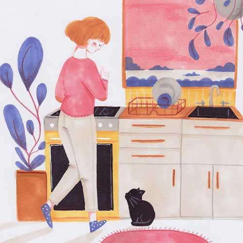 Kitchen cat by Karla Alcazar