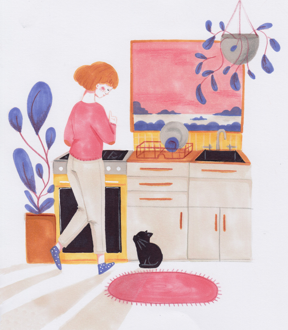 kitchen cat illustration