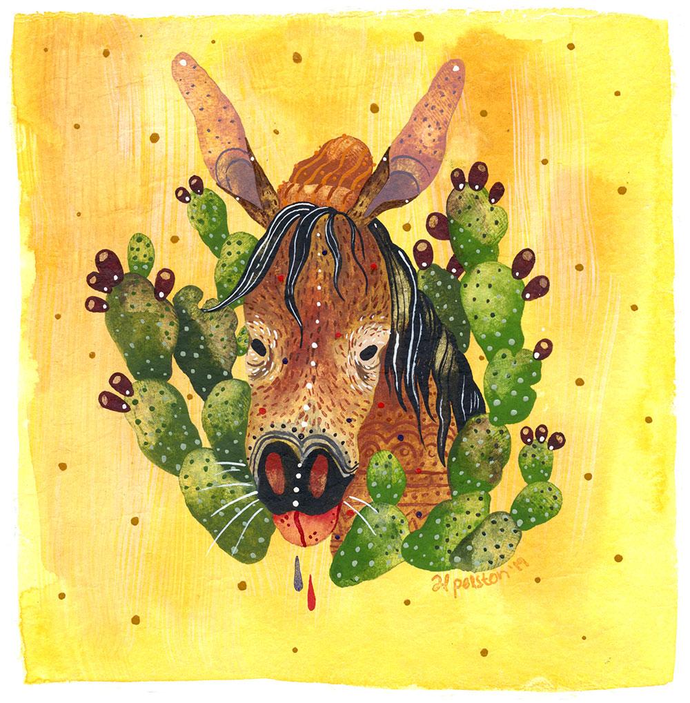 Al Polston mule portrait illustration