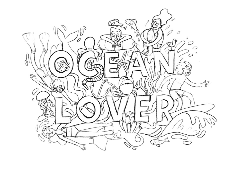 sketch ocean lover illustration