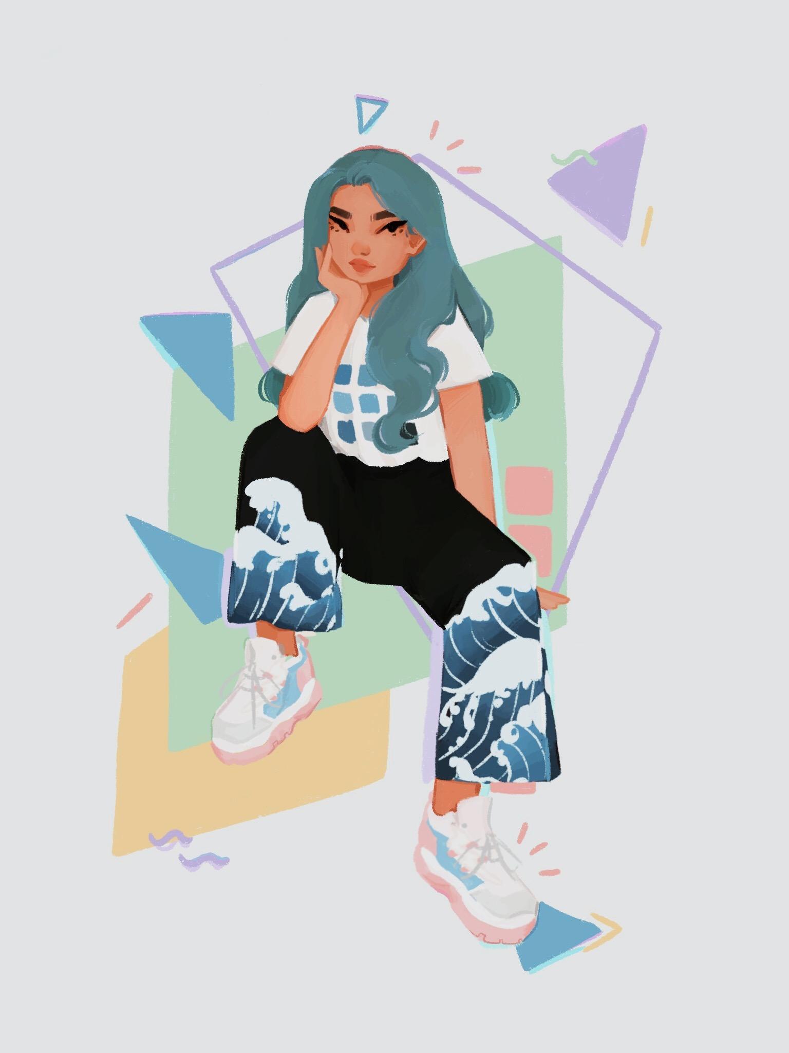 """Nineties babe"" girl illustration by Erin Jaye"
