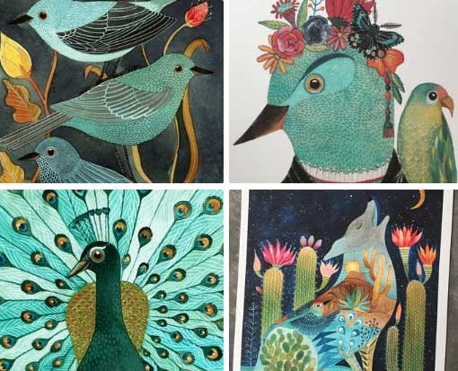 Geninne bird illustrations etsy shop