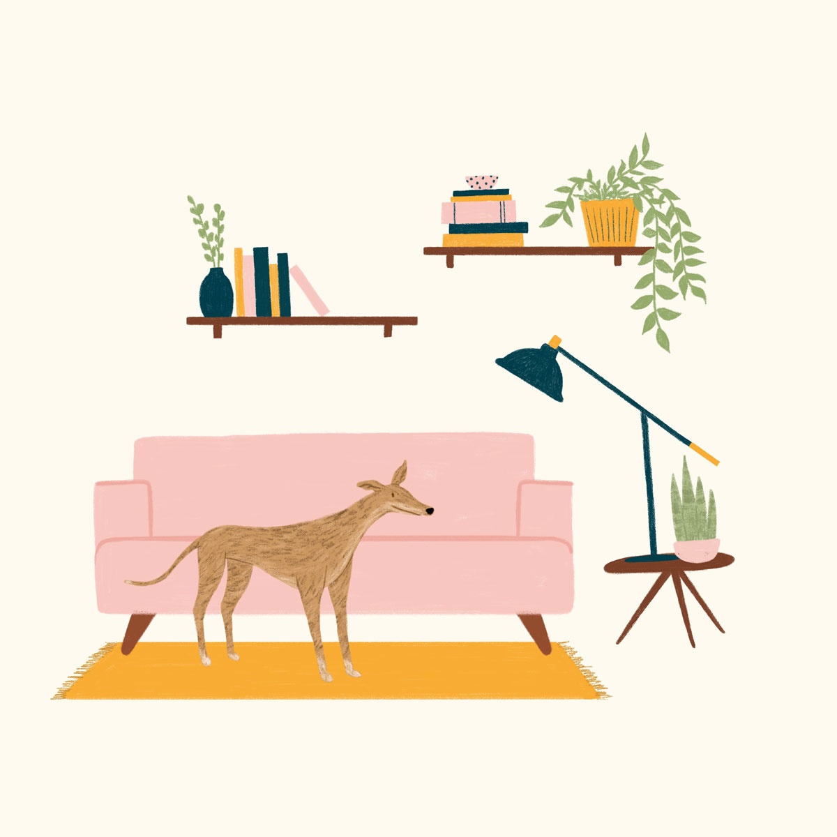 dog on couch illustration by Kaila Elders