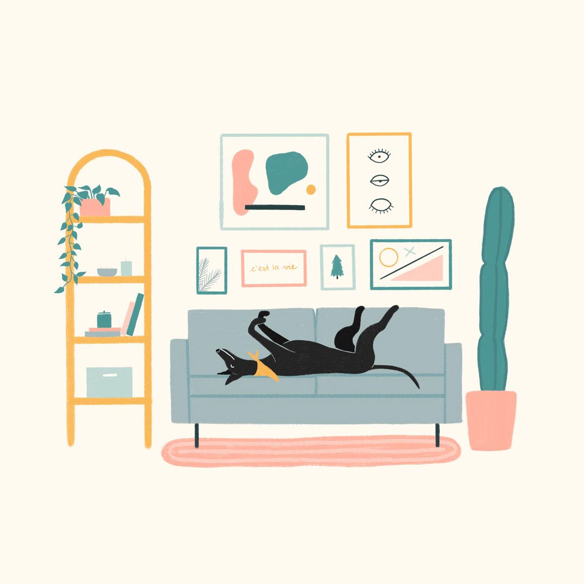 dog on couch illustration Kaila Elders