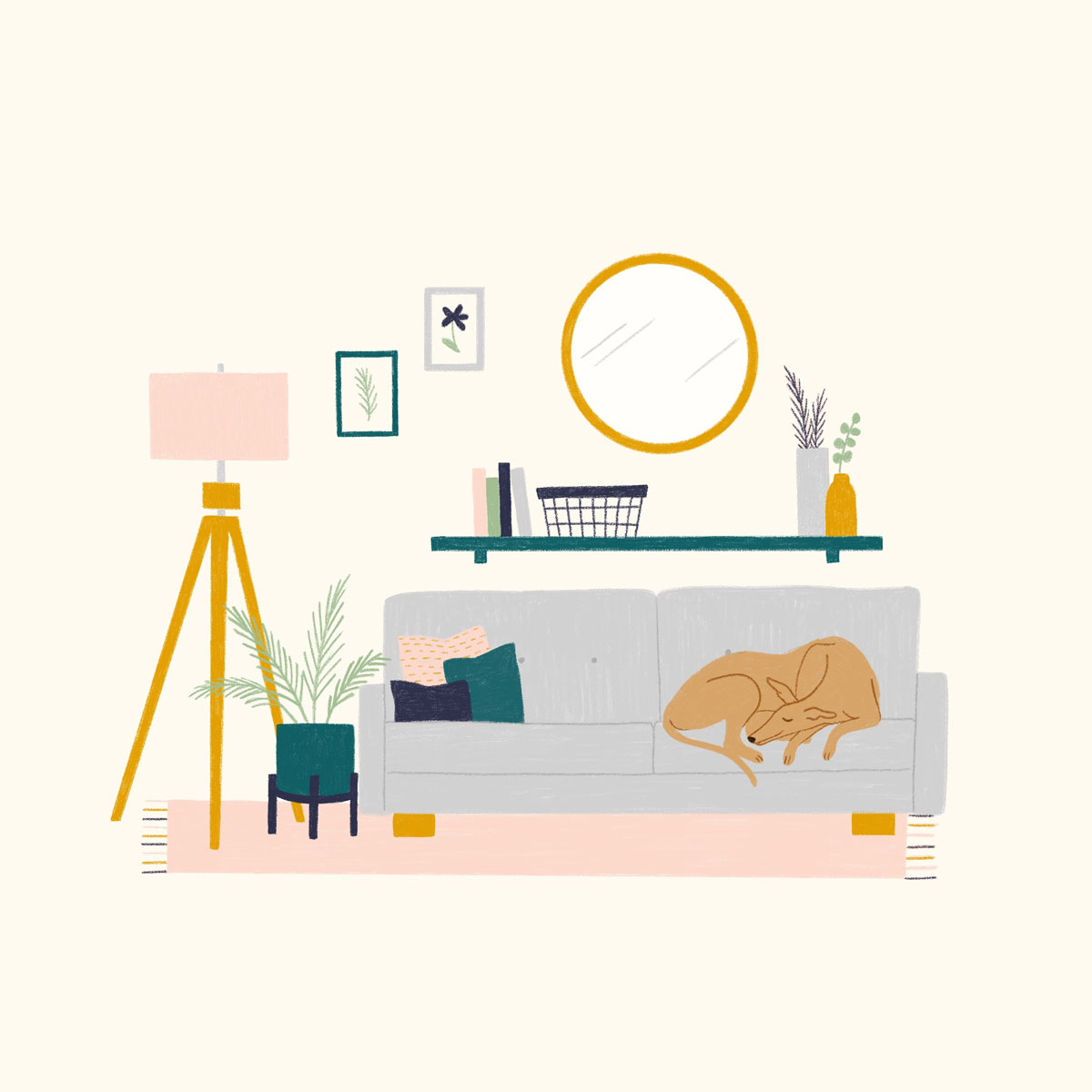dog on couch illustration