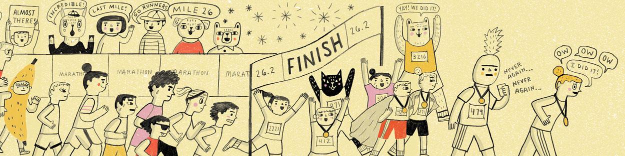 """Marathon Day"" illustration by Kathleen Marcotte"