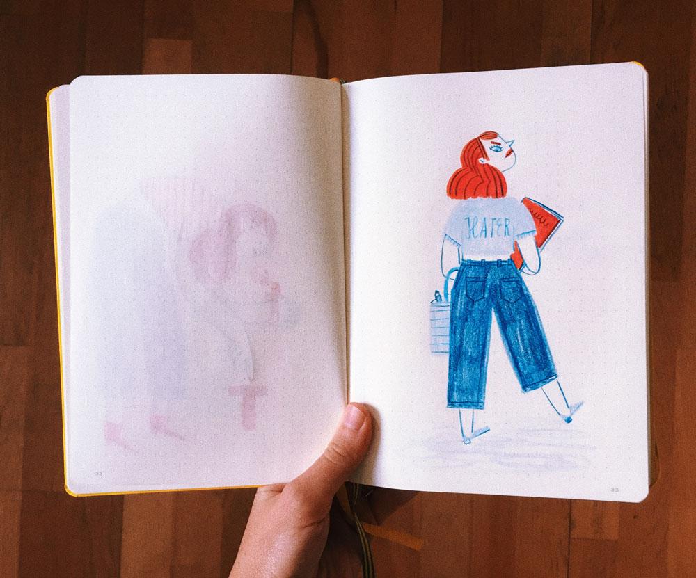 notebook girl illustration