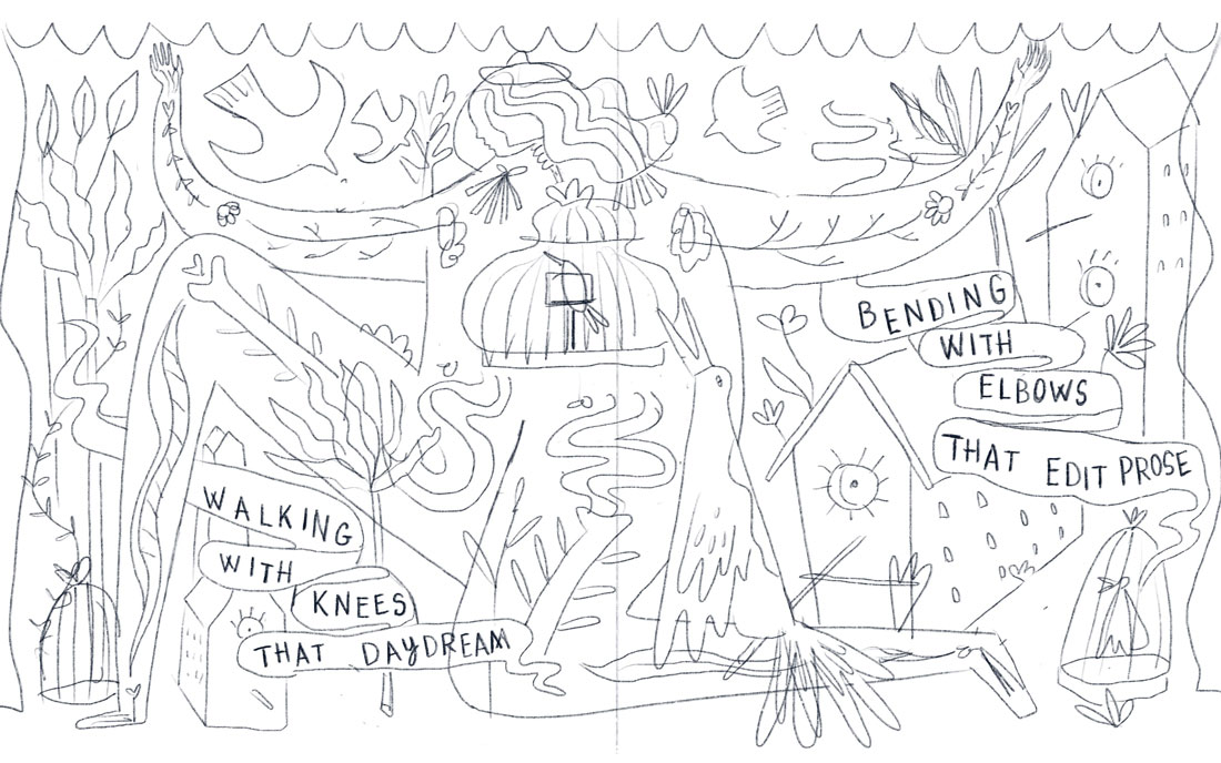 Story bones birdhouse sketch