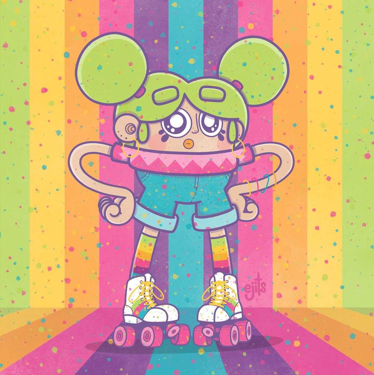 ejits roller grrl illustration